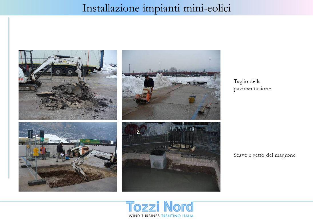 Taglio della pavimentazione Scavo e getto del magrone Installazione impianti mini-eolici