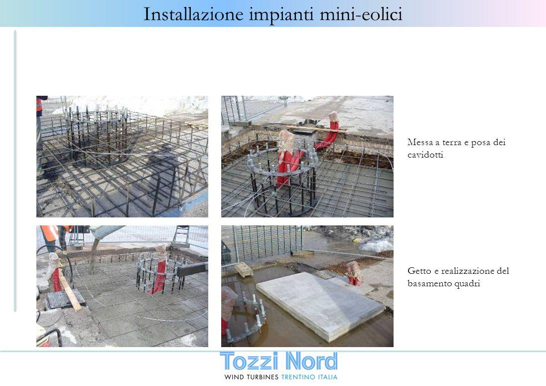 Getto e realizzazione del basamento quadri Messa a terra e posa dei cavidotti Installazione impianti mini-eolici