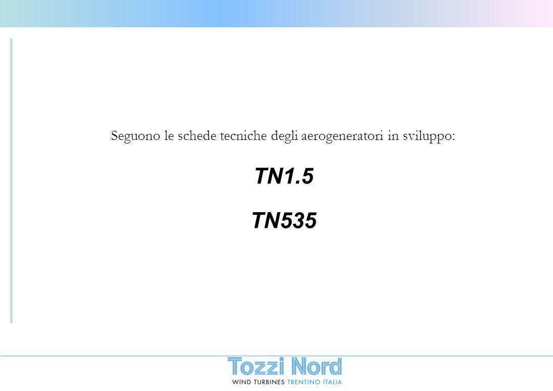 Seguono le schede tecniche degli aerogeneratori in sviluppo: TN1.5 TN535