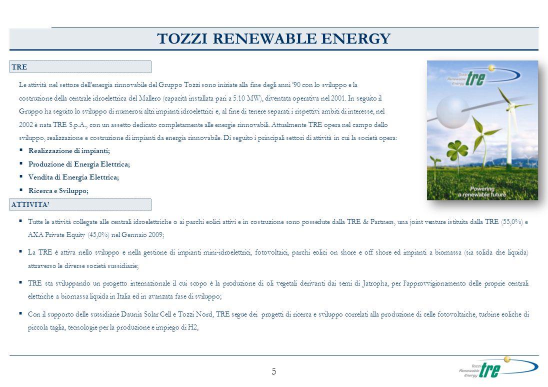 5 TRE TOZZI RENEWABLE ENERGY Le attività nel settore dellenergia rinnovabile del Gruppo Tozzi sono iniziate alla fine degli anni 90 con lo sviluppo e