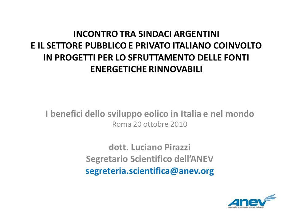 INCONTRO TRA SINDACI ARGENTINI E IL SETTORE PUBBLICO E PRIVATO ITALIANO COINVOLTO IN PROGETTI PER LO SFRUTTAMENTO DELLE FONTI ENERGETICHE RINNOVABILI
