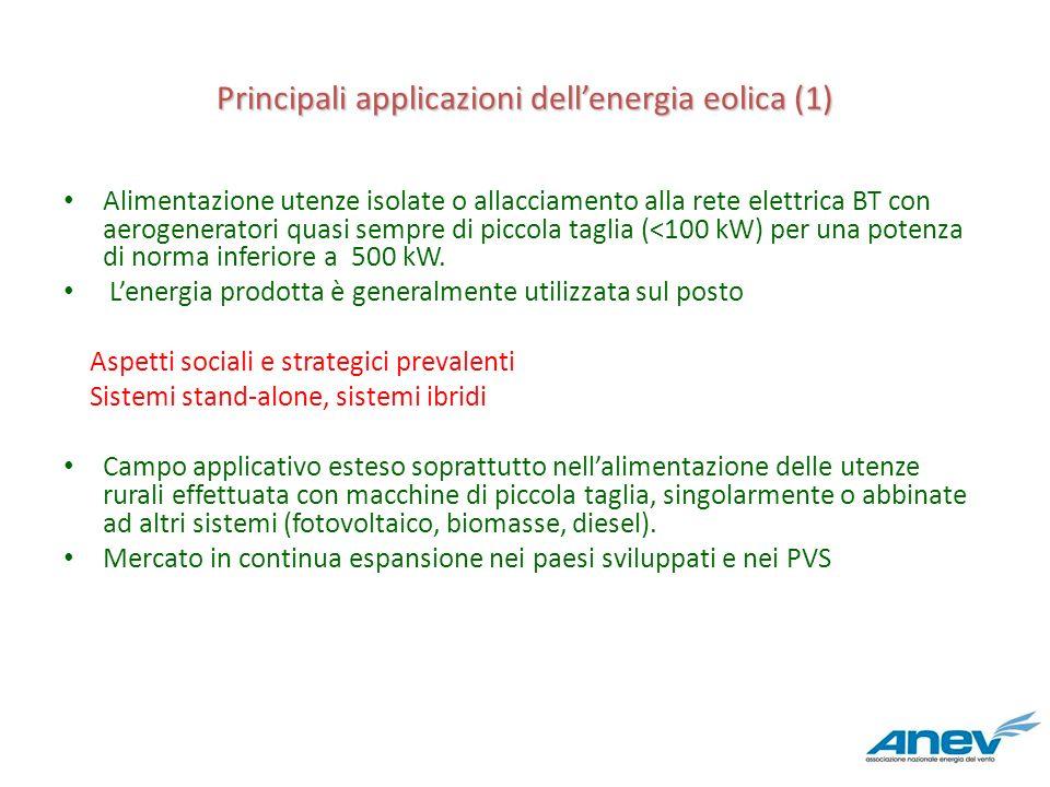 Principali applicazioni dellenergia eolica (1) Alimentazione utenze isolate o allacciamento alla rete elettrica BT con aerogeneratori quasi sempre di