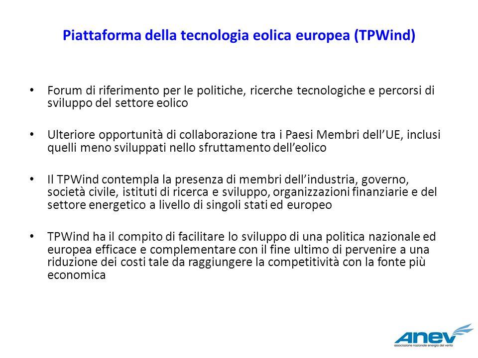Piattaforma della tecnologia eolica europea (TPWind) Forum di riferimento per le politiche, ricerche tecnologiche e percorsi di sviluppo del settore e