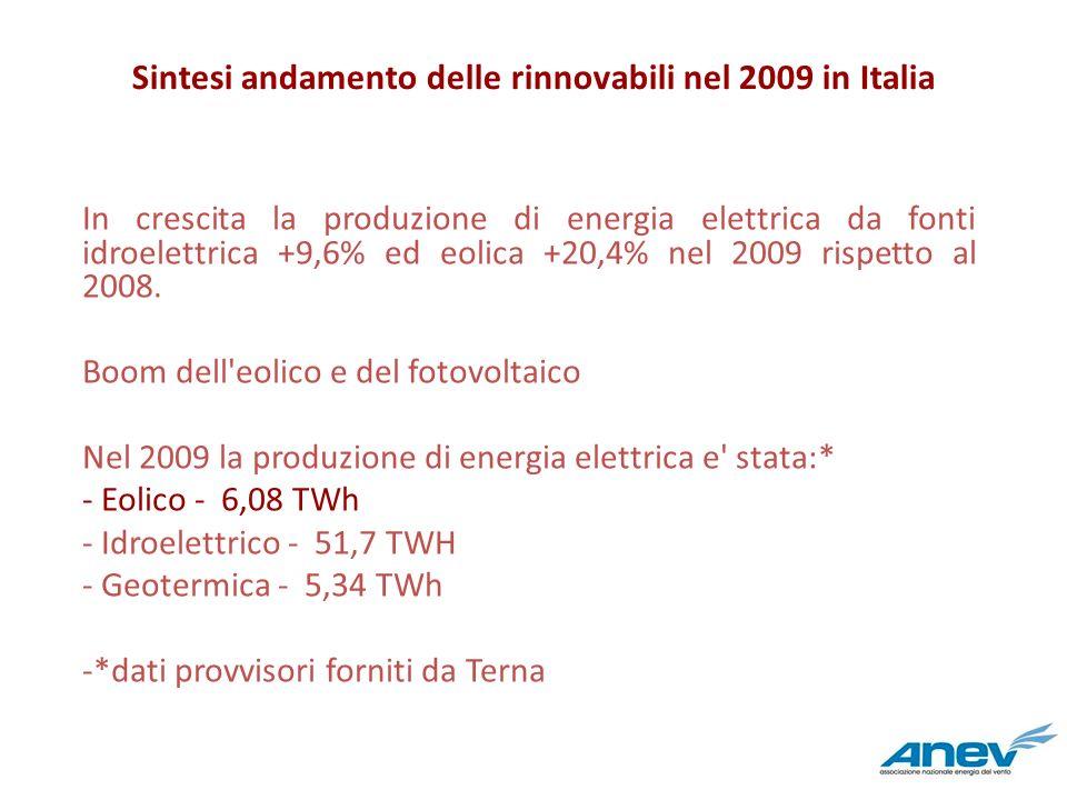 Sintesi andamento delle rinnovabili nel 2009 in Italia In crescita la produzione di energia elettrica da fonti idroelettrica +9,6% ed eolica +20,4% ne