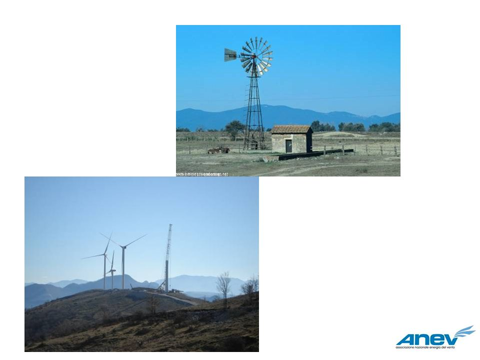 La risorsa eolica: energia del vento E noto che una massa d aria di densità che si muove con velocità istantanea V attraverso un area A, posta ortogonalmente alla direzione della velocità, rende disponibile una potenza pari a: P = 1/2 C p A V 3 Se è data in kg/m3, V in m/s, A in m 2, allora P risulta espresso in watt.