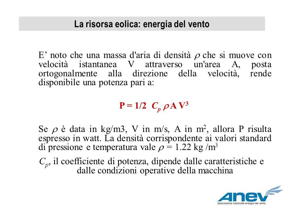 La risorsa eolica: energia del vento E noto che una massa d'aria di densità che si muove con velocità istantanea V attraverso un'area A, posta ortogon