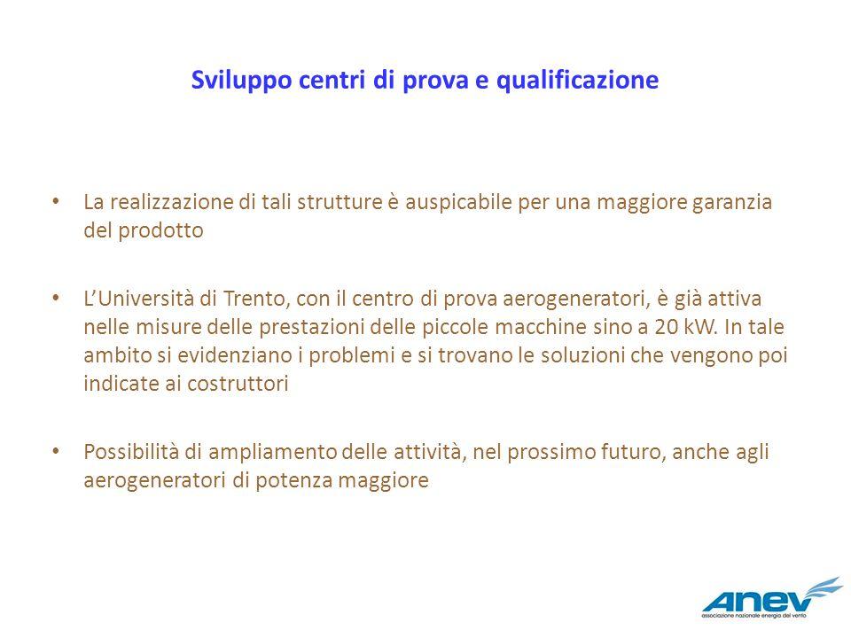Sviluppo centri di prova e qualificazione La realizzazione di tali strutture è auspicabile per una maggiore garanzia del prodotto LUniversità di Trent