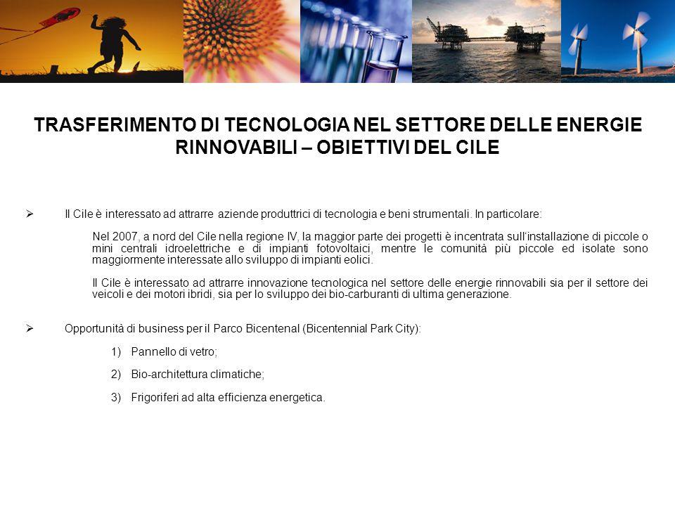 Il Cile è interessato ad attrarre aziende produttrici di tecnologia e beni strumentali.