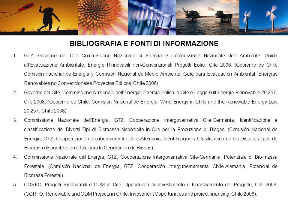 1.GTZ, Governo del Cile Commissione Nazionale di Energia e Commissione Nazionale dell Ambiente, Guida allEvacuazione Ambientale, Energie Rinnovabili non-Convenzionali Progetti Eolici, Cile 2006.