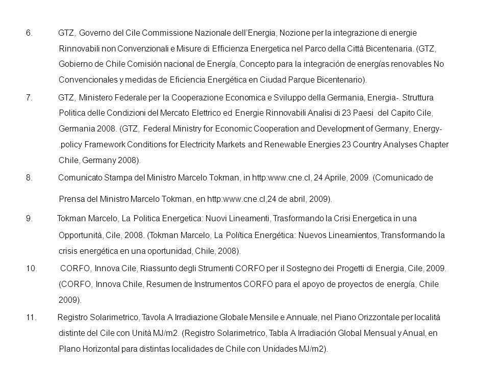 6. GTZ, Governo del Cile Commissione Nazionale dellEnergia, Nozione per la integrazione di energie Rinnovabili non Convenzionali e Misure di Efficienz
