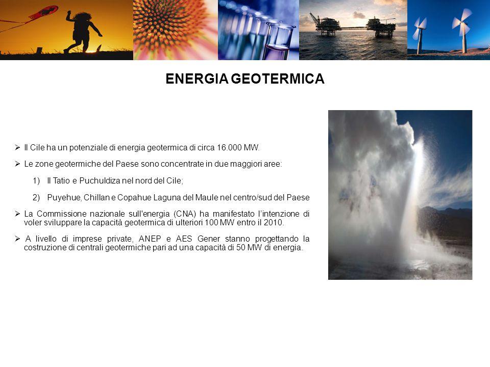 Il Cile ha un potenziale di energia geotermica di circa 16.000 MW.