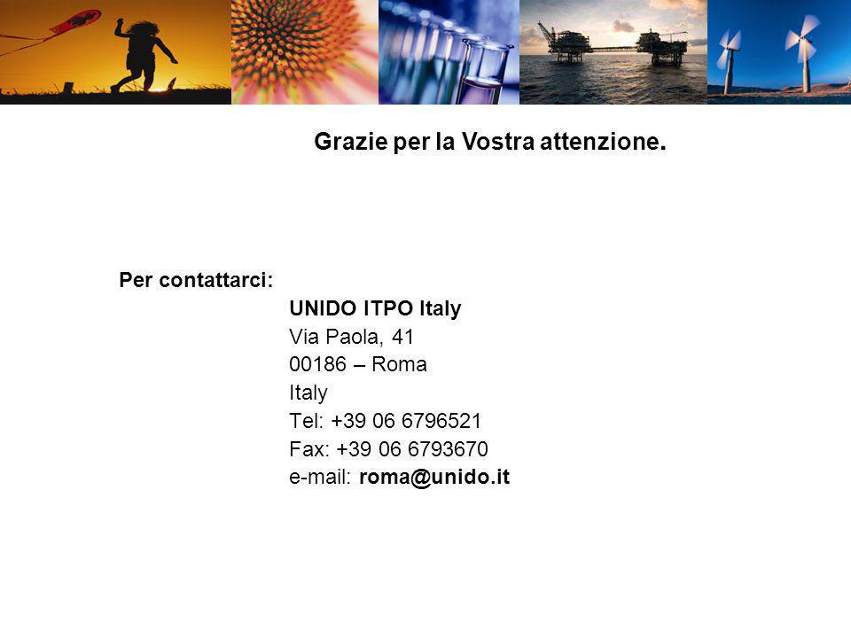 Grazie per la Vostra attenzione. Per contattarci: UNIDO ITPO Italy Via Paola, 41 00186 – Roma Italy Tel: +39 06 6796521 Fax: +39 06 6793670 e-mail: ro