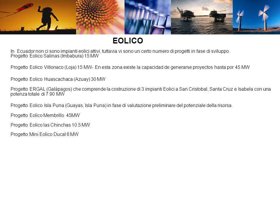 In Ecuador non ci sono impianti eolici attivi, tuttavia vi sono un certo numero di progetti in fase di sviluppo. Progetto Eolico Salinas (Imbabura) 15