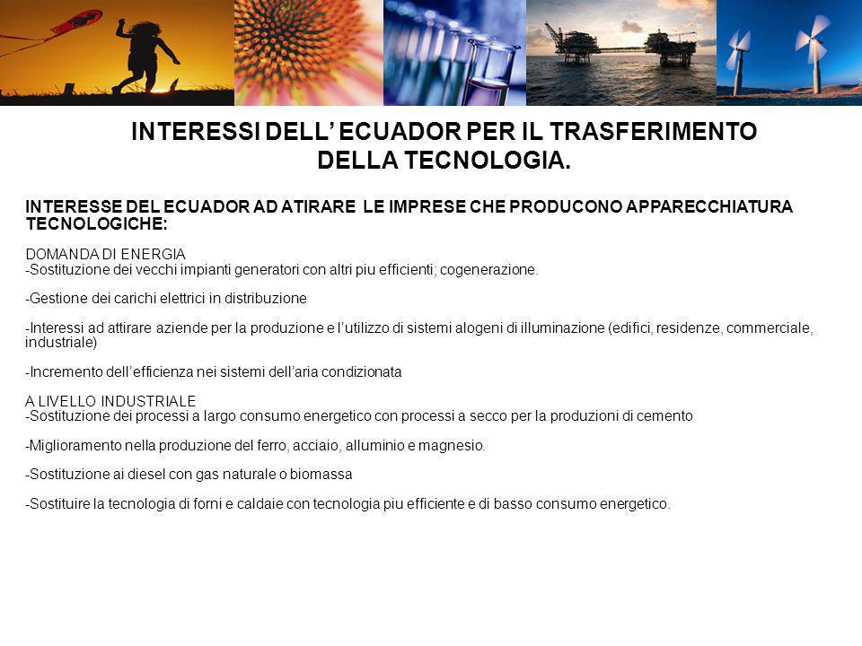 INTERESSE DEL ECUADOR AD ATIRARE LE IMPRESE CHE PRODUCONO APPARECCHIATURA TECNOLOGICHE: DOMANDA DI ENERGIA -Sostituzione dei vecchi impianti generator