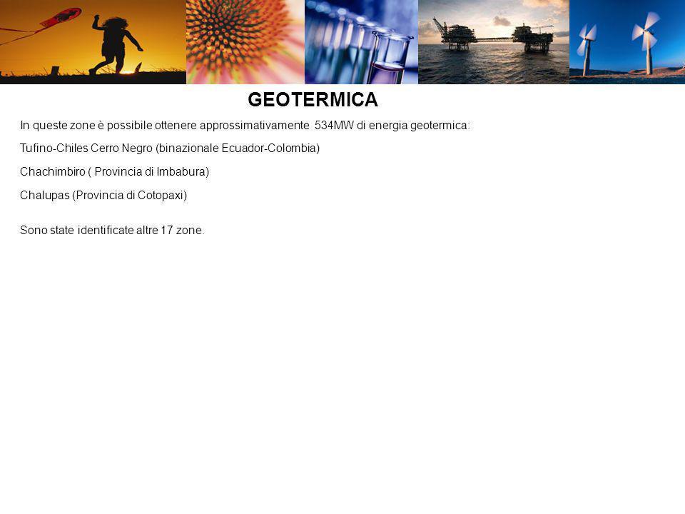 L Ecuador, grazie alla sua collocazione geografica, può contare sud un potenziale medio giornaliero di radiazione solare di 3.98 kWh/m3 (2000 ore annue di irradiazione solare) Regioni con potenziale sviluppo fotovoltaico: : Interandina- 4.5 KWh/m2-giornallero Litoral-3.5KWh/m2-giornallero Amazónica-3.8KWh/m2-giornallero Insular o Galápagos-4-5KWh/m2-giornallero Esistono possibilità di investimenti per laziende che sviluppano una mappatura delle aree con potenziali risorse energetiche( eolica, solare, geotermica) necessaria per individuare le aree vitali per lo sviluppo di tale energia.