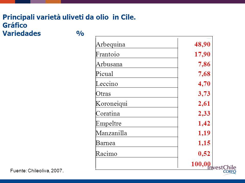 Arbequina48,90 Frantoio17,90 Arbusana7,86 Picual7,68 Leccino4,70 Otras3,73 Koroneiqui2,61 Coratina2,33 Empeltre1,42 Manzanilla1,19 Barnea1,15 Racimo0,52 100,00 Principali varietà uliveti da olio in Cile.