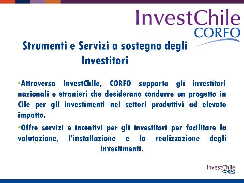 Strumenti e Servizi a sostegno degli Investitori Attraverso InvestChile, CORFO supporta gli investitori nazionali e stranieri che desiderano condurre un progetto in Cile per gli investimenti nei settori produttivi ad elevato impatto.