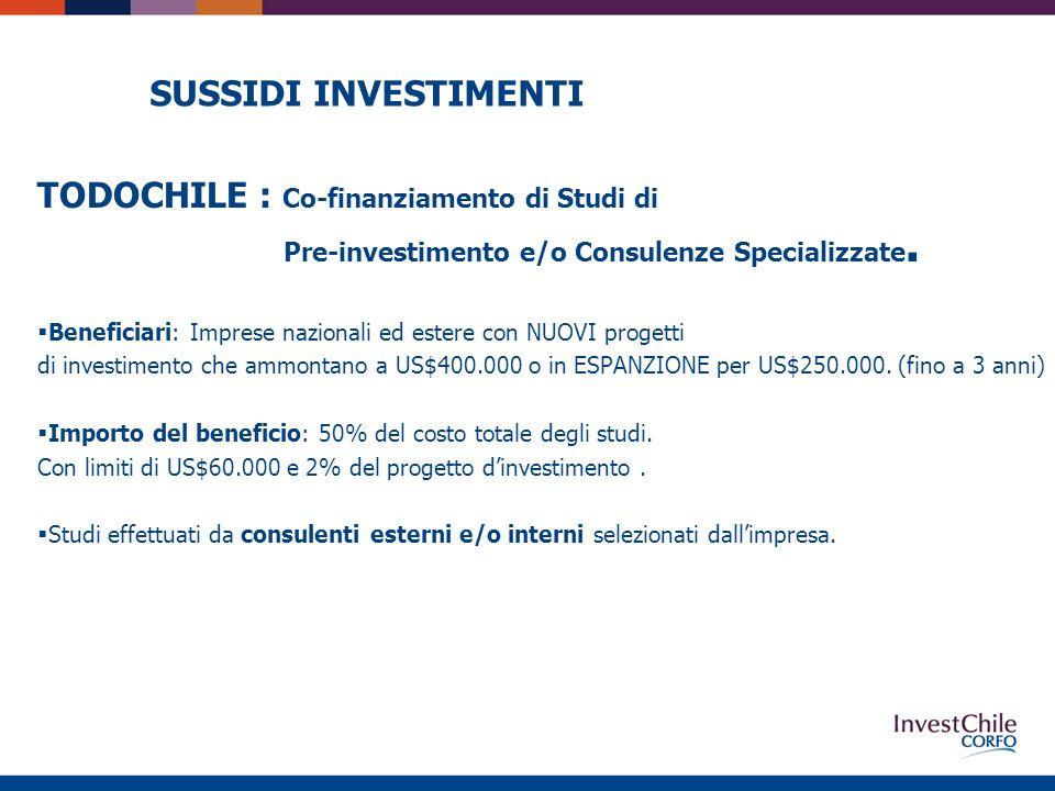 SUSSIDI INVESTIMENTI Beneficiari: Imprese nazionali ed estere con NUOVI progetti di investimento che ammontano a US$400.000 o in ESPANZIONE per US$250.000.