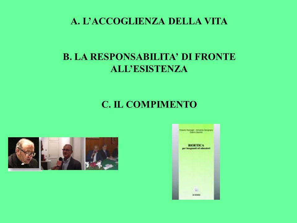A. LACCOGLIENZA DELLA VITA B. LA RESPONSABILITA DI FRONTE ALLESISTENZA C. IL COMPIMENTO