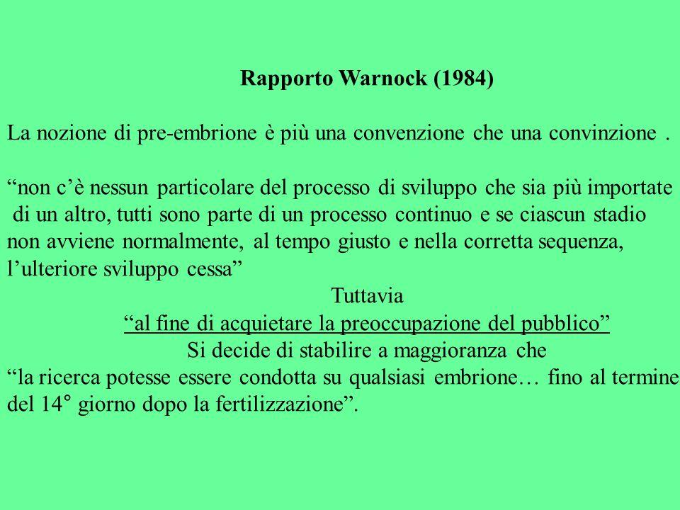 Rapporto Warnock (1984) La nozione di pre-embrione è più una convenzione che una convinzione. non cè nessun particolare del processo di sviluppo che s