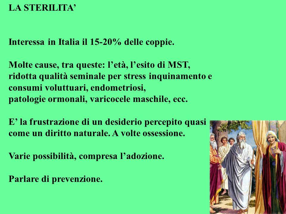 LA STERILITA Interessa in Italia il 15-20% delle coppie. Molte cause, tra queste: letà, lesito di MST, ridotta qualità seminale per stress inquinament