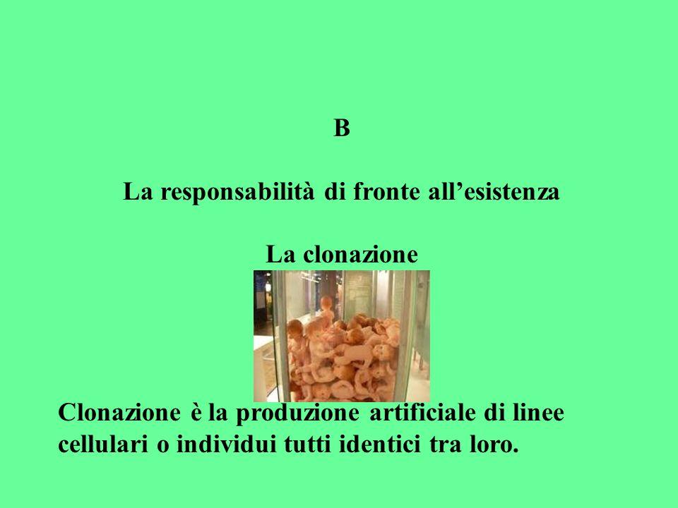 B La responsabilità di fronte allesistenza La clonazione Clonazione è la produzione artificiale di linee cellulari o individui tutti identici tra loro