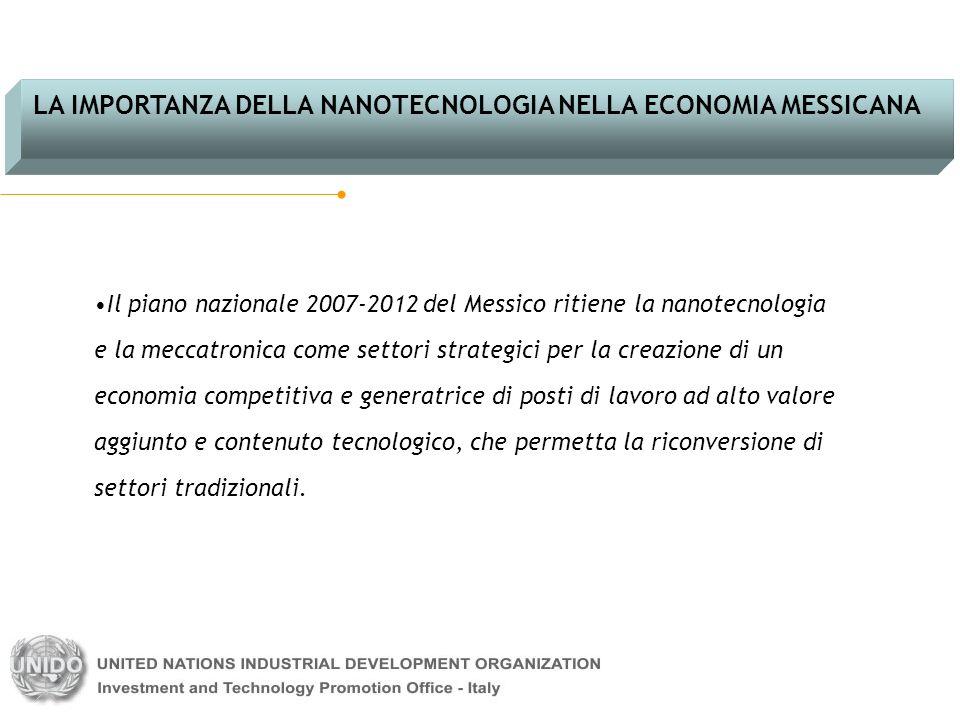 Il piano nazionale 2007-2012 del Messico ritiene la nanotecnologia e la meccatronica come settori strategici per la creazione di un economia competiti