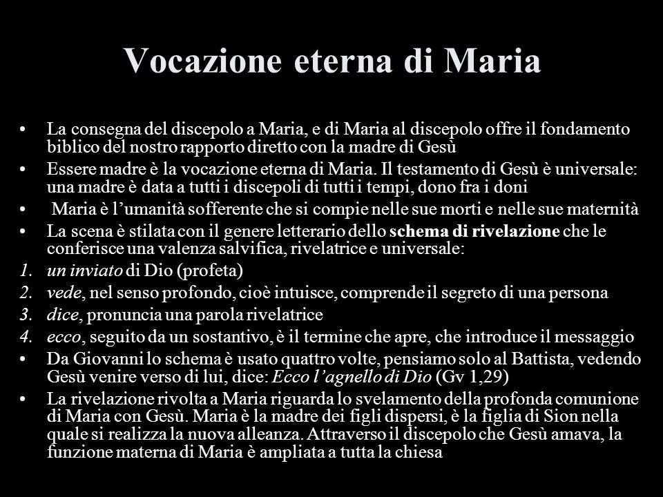 Vocazione eterna di Maria La consegna del discepolo a Maria, e di Maria al discepolo offre il fondamento biblico del nostro rapporto diretto con la ma
