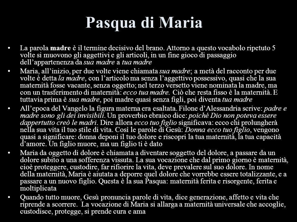 Pasqua di Maria La parola madre è il termine decisivo del brano. Attorno a questo vocabolo ripetuto 5 volte si muovono gli aggettivi e gli articoli, i