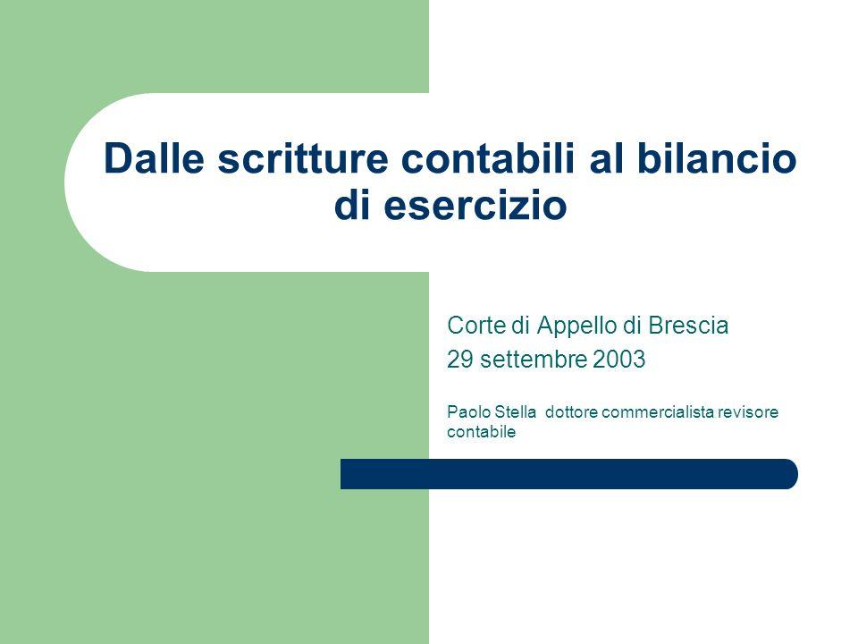 Dalle scritture contabili al bilancio di esercizio Corte di Appello di Brescia 29 settembre 2003 Paolo Stella dottore commercialista revisore contabil