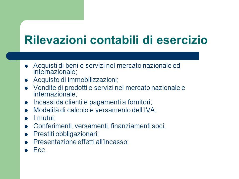 Rilevazioni contabili di esercizio Acquisti di beni e servizi nel mercato nazionale ed internazionale; Acquisto di immobilizzazioni; Vendite di prodot