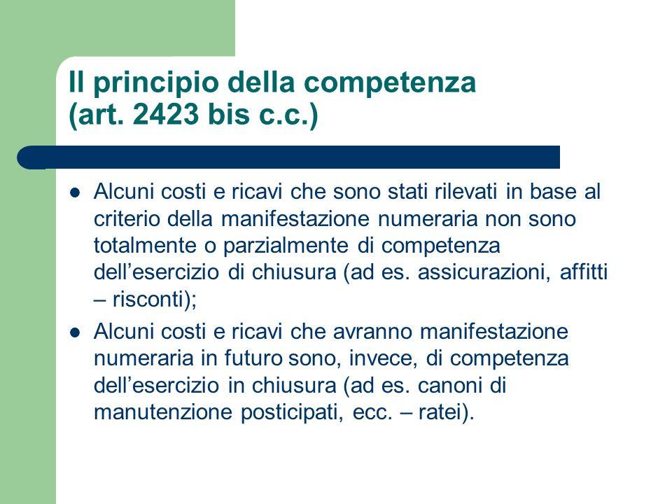 Il principio della competenza (art. 2423 bis c.c.) Alcuni costi e ricavi che sono stati rilevati in base al criterio della manifestazione numeraria no