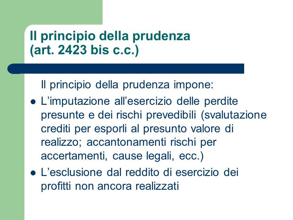 Il principio della prudenza (art. 2423 bis c.c.) Il principio della prudenza impone: Limputazione allesercizio delle perdite presunte e dei rischi pre