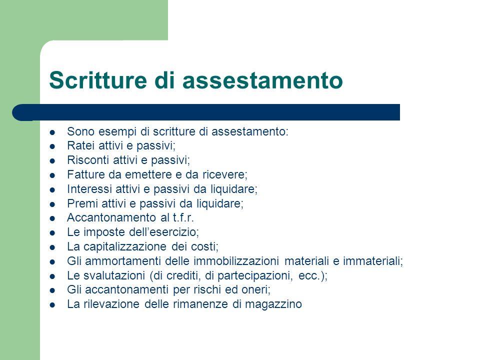 Scritture di assestamento Sono esempi di scritture di assestamento: Ratei attivi e passivi; Risconti attivi e passivi; Fatture da emettere e da riceve