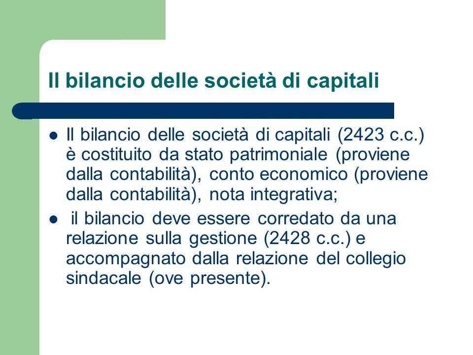 Il bilancio delle società di capitali Il bilancio delle società di capitali (2423 c.c.) è costituito da stato patrimoniale (proviene dalla contabilità