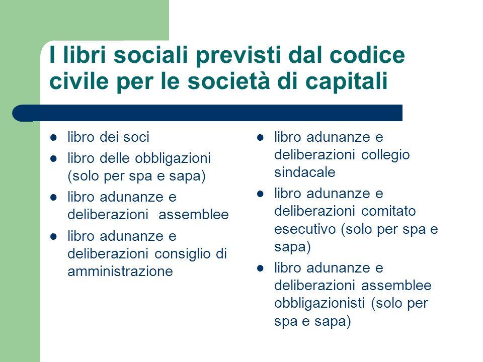 I libri sociali previsti dal codice civile per le società di capitali libro dei soci libro delle obbligazioni (solo per spa e sapa) libro adunanze e d