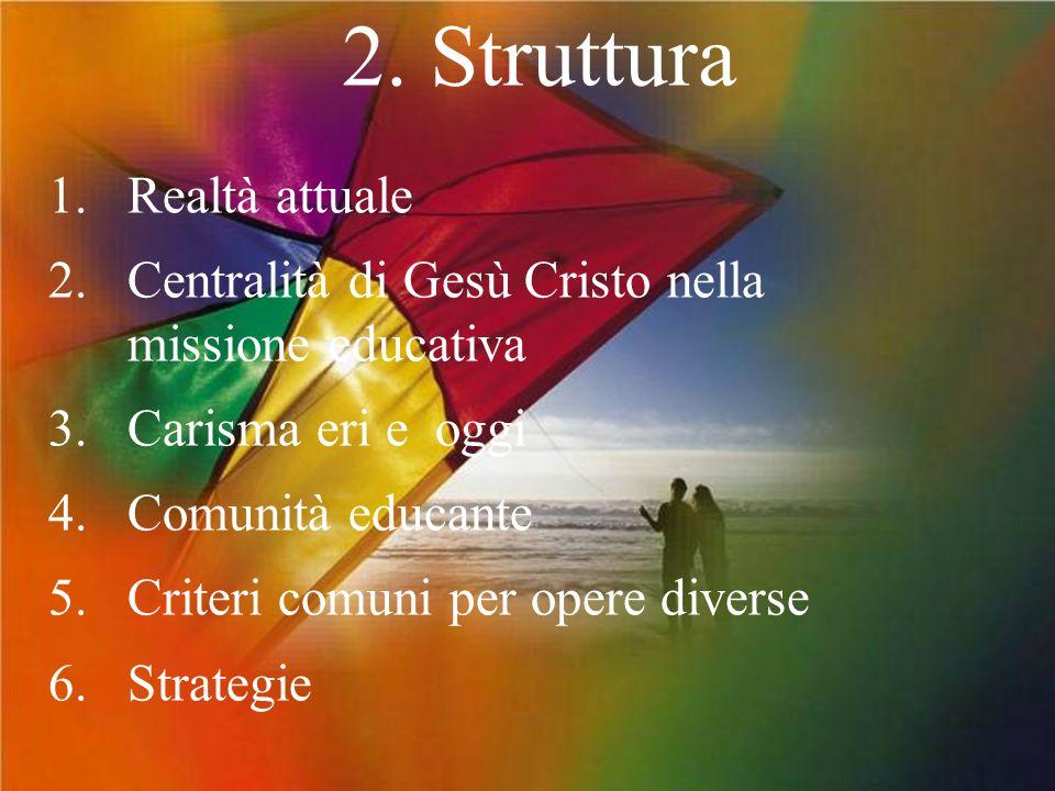 2. Struttura 1. Realtà attuale 2. Centralità di Gesù Cristo nella missione educativa 3.