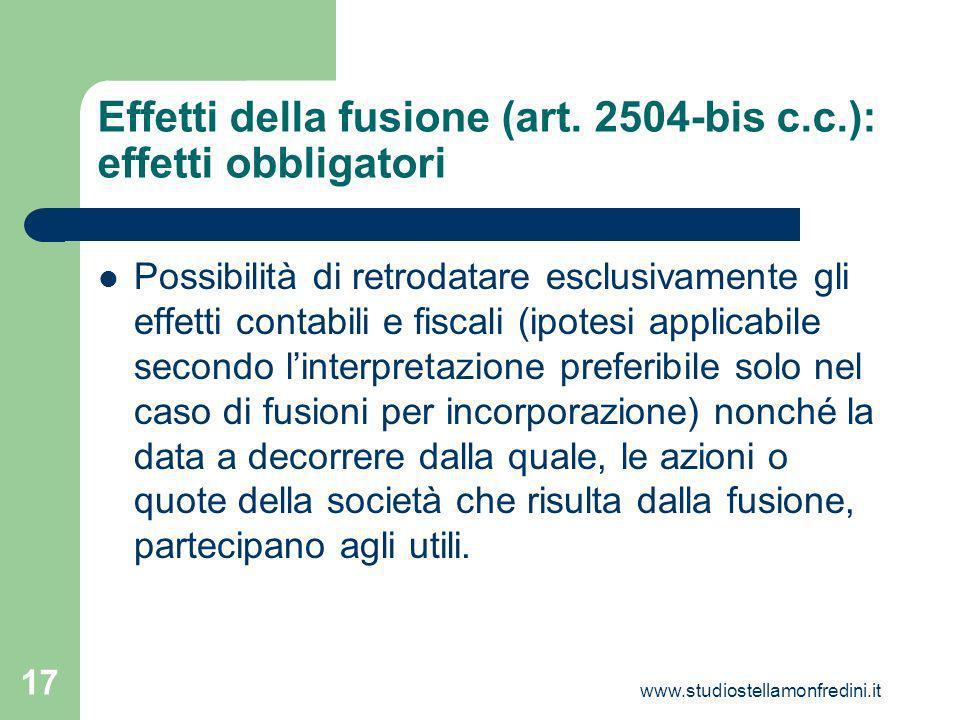 www.studiostellamonfredini.it 17 Effetti della fusione (art.