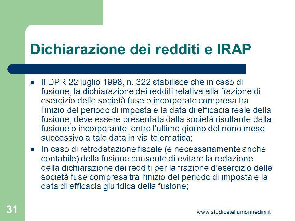 www.studiostellamonfredini.it 31 Dichiarazione dei redditi e IRAP Il DPR 22 luglio 1998, n.