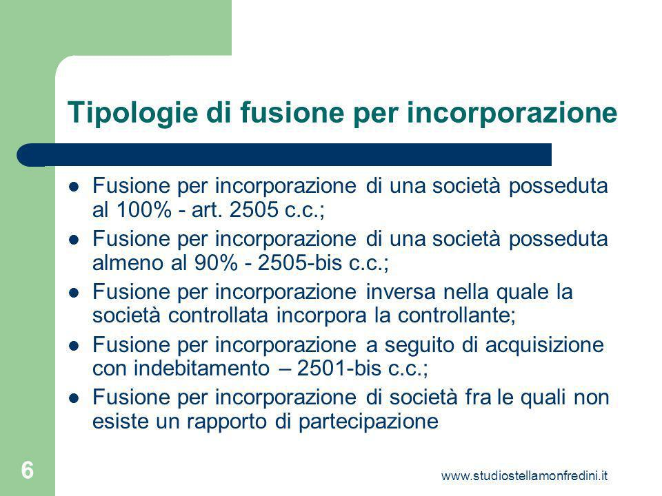 www.studiostellamonfredini.it 6 Tipologie di fusione per incorporazione Fusione per incorporazione di una società posseduta al 100% - art.