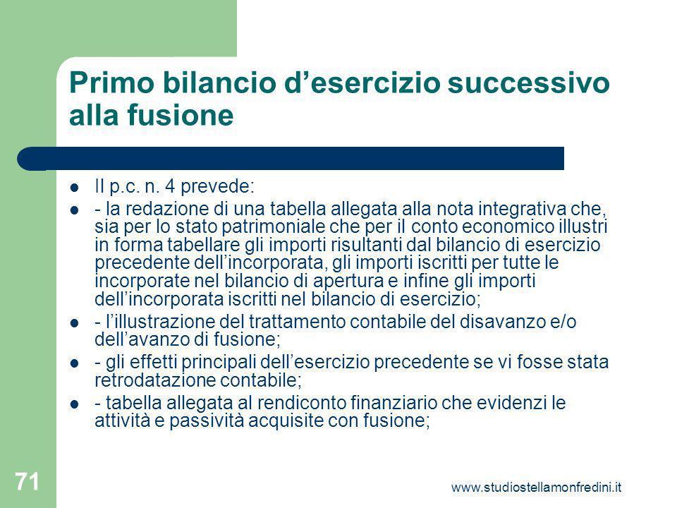www.studiostellamonfredini.it 71 Primo bilancio desercizio successivo alla fusione Il p.c.