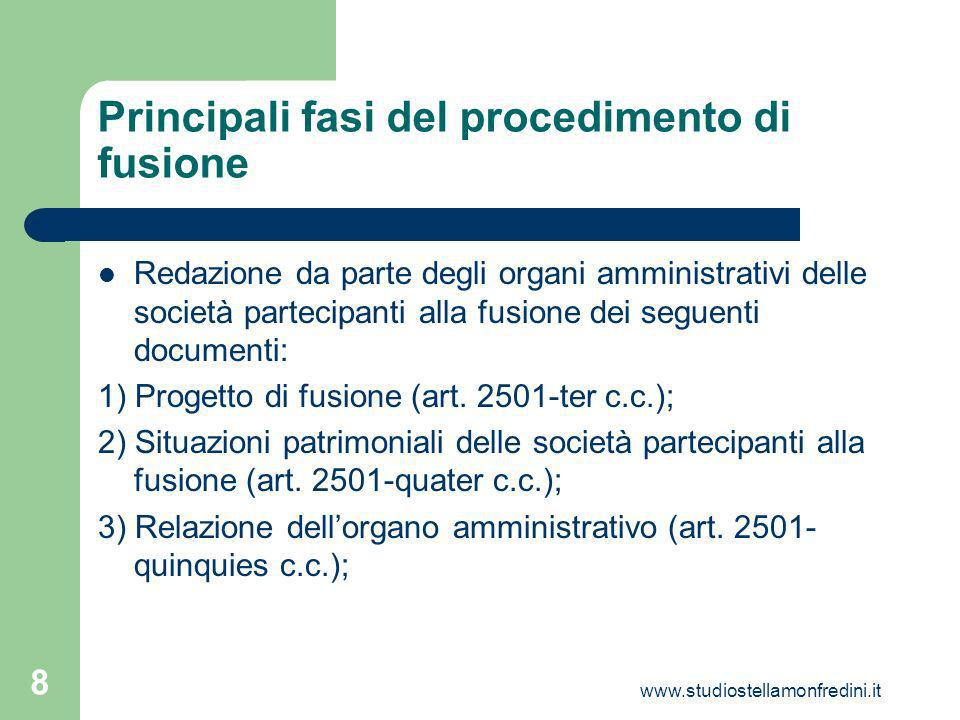 www.studiostellamonfredini.it 8 Principali fasi del procedimento di fusione Redazione da parte degli organi amministrativi delle società partecipanti alla fusione dei seguenti documenti: 1) Progetto di fusione (art.