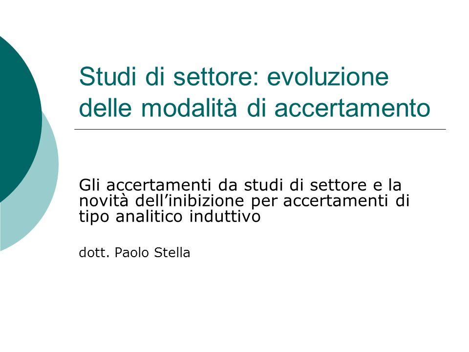 Studi di settore: evoluzione delle modalità di accertamento Gli accertamenti da studi di settore e la novità dellinibizione per accertamenti di tipo analitico induttivo dott.