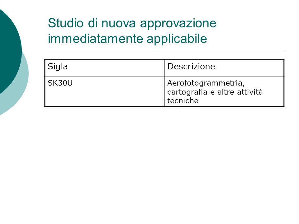 Studio di nuova approvazione immediatamente applicabile SiglaDescrizione SK30UAerofotogrammetria, cartografia e altre attività tecniche