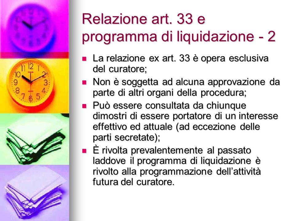 Relazione art.33 e programma di liquidazione - 2 La relazione ex art.