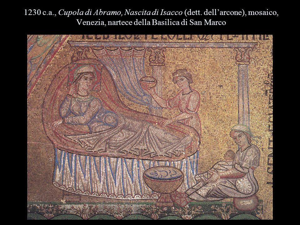 1230 c.a., Cupola di Abramo, Nascita di Isacco (dett. dellarcone), mosaico, Venezia, nartece della Basilica di San Marco