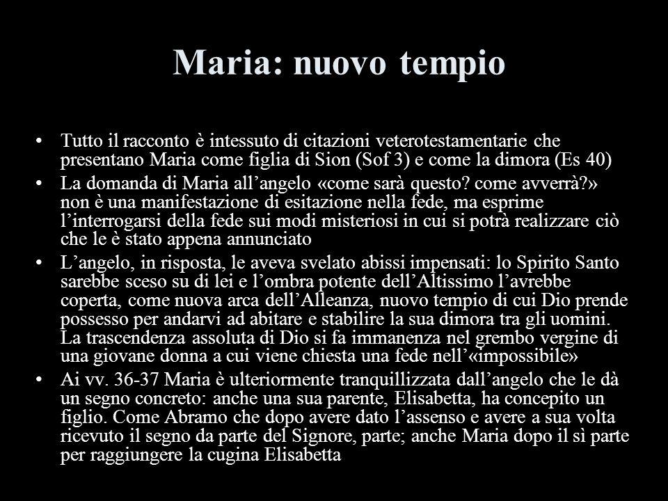 Maria: nuovo tempio Tutto il racconto è intessuto di citazioni veterotestamentarie che presentano Maria come figlia di Sion (Sof 3) e come la dimora (