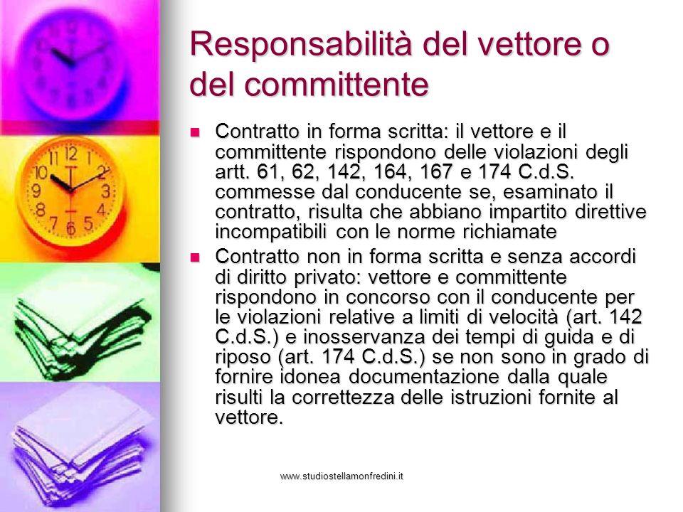 www.studiostellamonfredini.it Responsabilità del vettore o del committente Contratto in forma scritta: il vettore e il committente rispondono delle vi