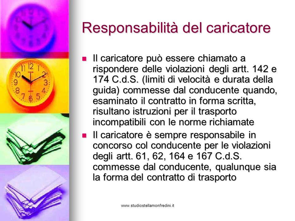 www.studiostellamonfredini.it Responsabilità del caricatore Il caricatore può essere chiamato a rispondere delle violazioni degli artt. 142 e 174 C.d.