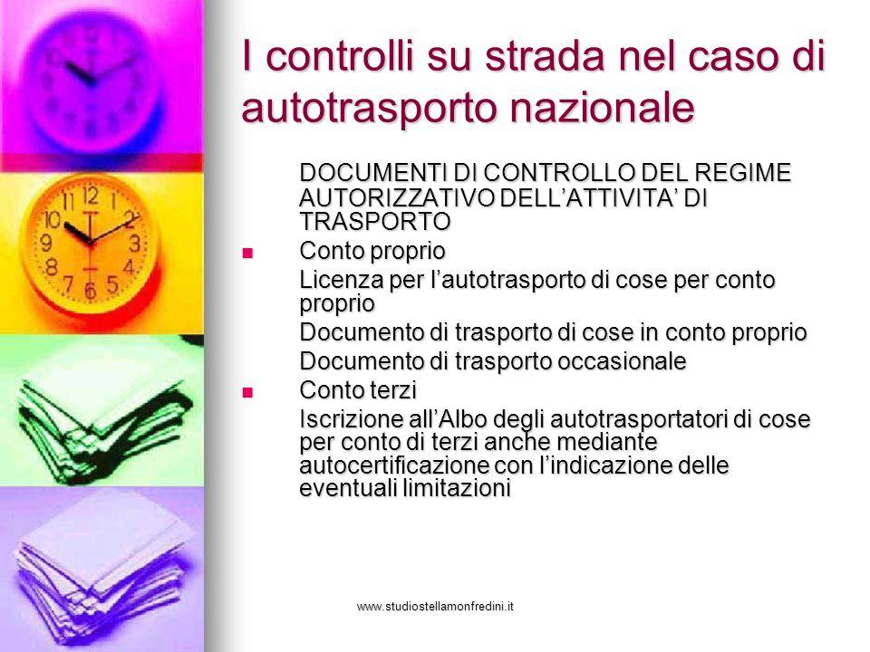 www.studiostellamonfredini.it I controlli su strada nel caso di autotrasporto nazionale DOCUMENTI DI CONTROLLO DEL REGIME AUTORIZZATIVO DELLATTIVITA D